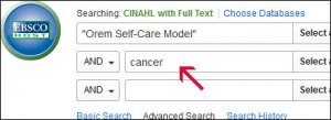 "Screenshot of CINAHL with ""Orem Self-Care Model"" in the first text box and cancer in the second text box."
