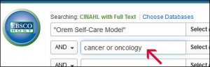 "Screenshot of CINAHL with ""Orem Self-Care Model"" in the first text box and cancer or oncology in the second text box."
