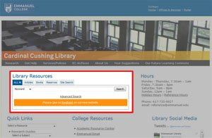 ALL IN search on the Library home page