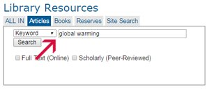 Screenshot of article search for global warming