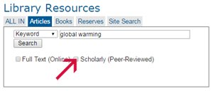 Screenshot of article search for global warming pointing to peer reviewed