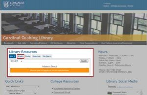 Screenshot of the Library home page pointing out the Articles tab