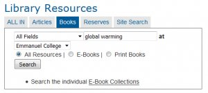 Search for books on global warming